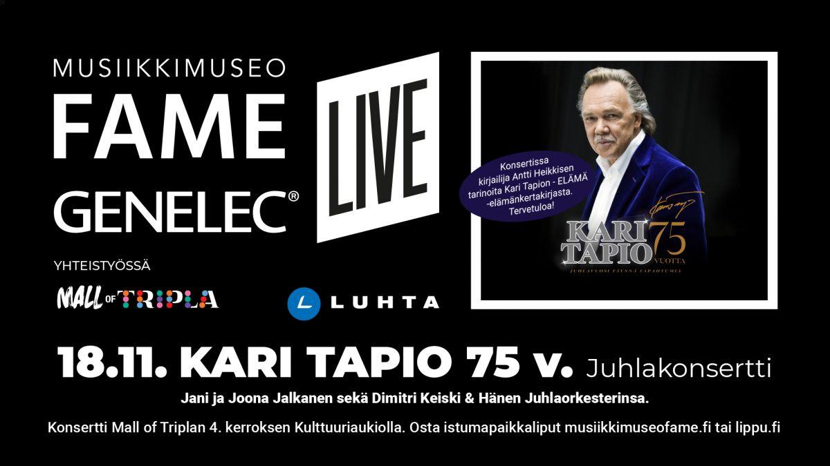 Kari Tapion: FAME GENELEC LIVE 18.11.2020: Kari Tapio 75...